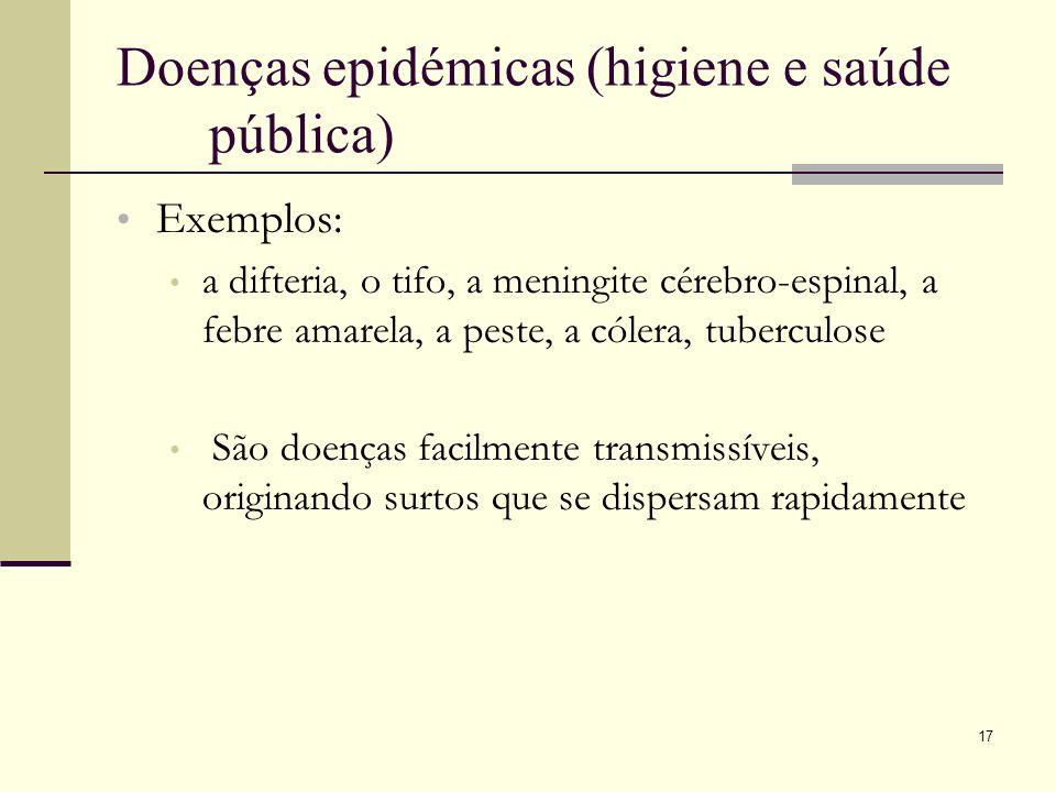 17 Doenças epidémicas (higiene e saúde pública) Exemplos: a difteria, o tifo, a meningite cérebro-espinal, a febre amarela, a peste, a cólera, tubercu