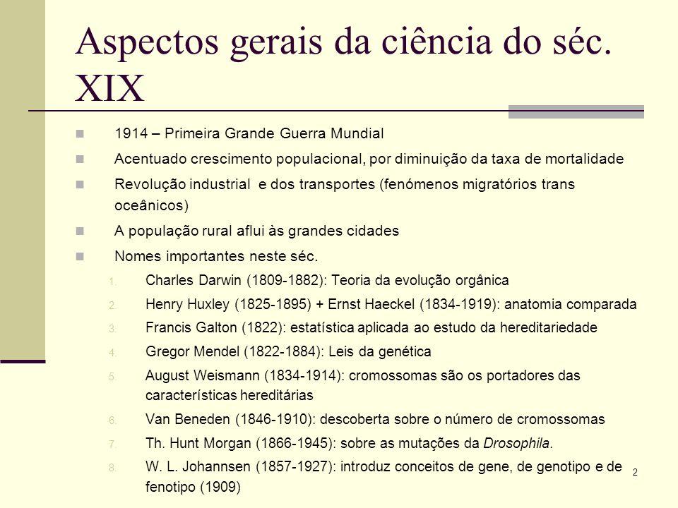 2 Aspectos gerais da ciência do séc. XIX 1914 – Primeira Grande Guerra Mundial Acentuado crescimento populacional, por diminuição da taxa de mortalida