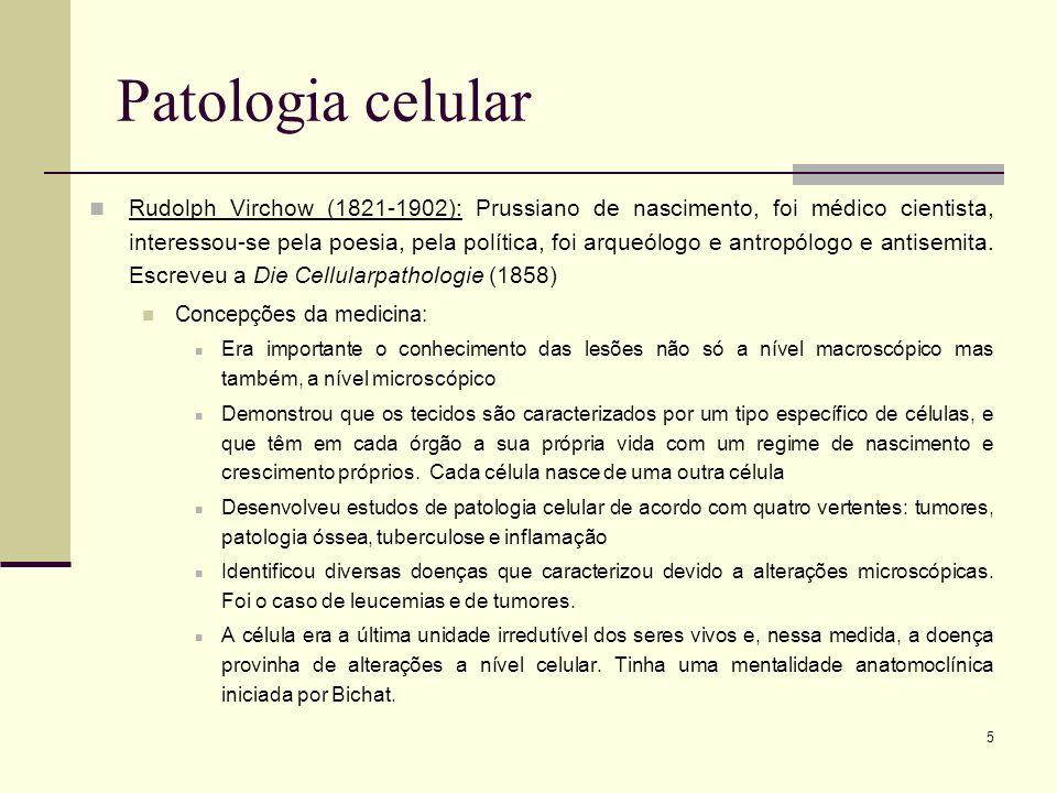 5 Patologia celular Rudolph Virchow (1821-1902): Prussiano de nascimento, foi médico cientista, interessou-se pela poesia, pela política, foi arqueólo