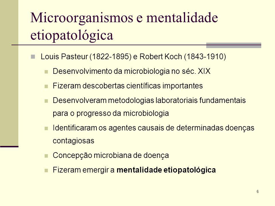 6 Microorganismos e mentalidade etiopatológica Louis Pasteur (1822-1895) e Robert Koch (1843-1910) Desenvolvimento da microbiologia no séc. XIX Fizera