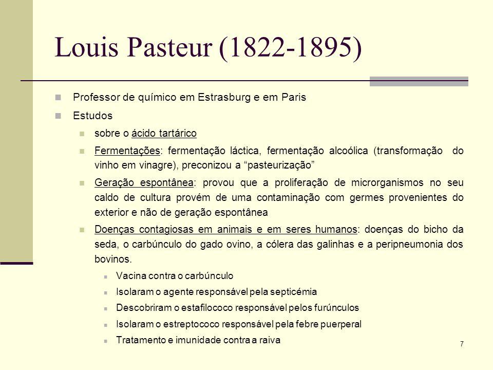 7 Louis Pasteur (1822-1895) Professor de químico em Estrasburg e em Paris Estudos sobre o ácido tartárico Fermentações: fermentação láctica, fermentaç