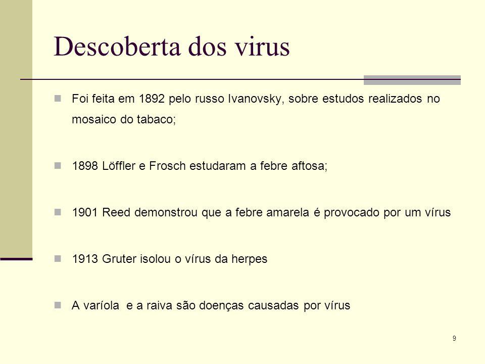 9 Descoberta dos virus Foi feita em 1892 pelo russo Ivanovsky, sobre estudos realizados no mosaico do tabaco; 1898 Löffler e Frosch estudaram a febre