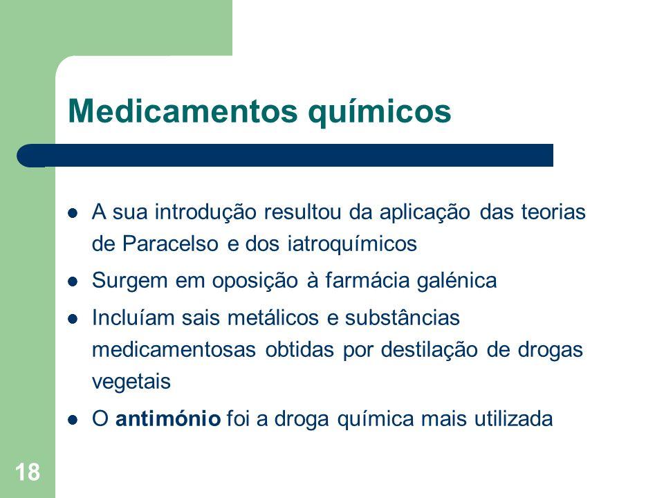 18 Medicamentos químicos A sua introdução resultou da aplicação das teorias de Paracelso e dos iatroquímicos Surgem em oposição à farmácia galénica In