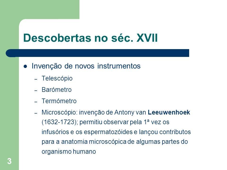 3 Descobertas no séc. XVII Invenção de novos instrumentos – Telescópio – Barómetro – Termómetro – Microscópio: invenção de Antony van Leeuwenhoek (163