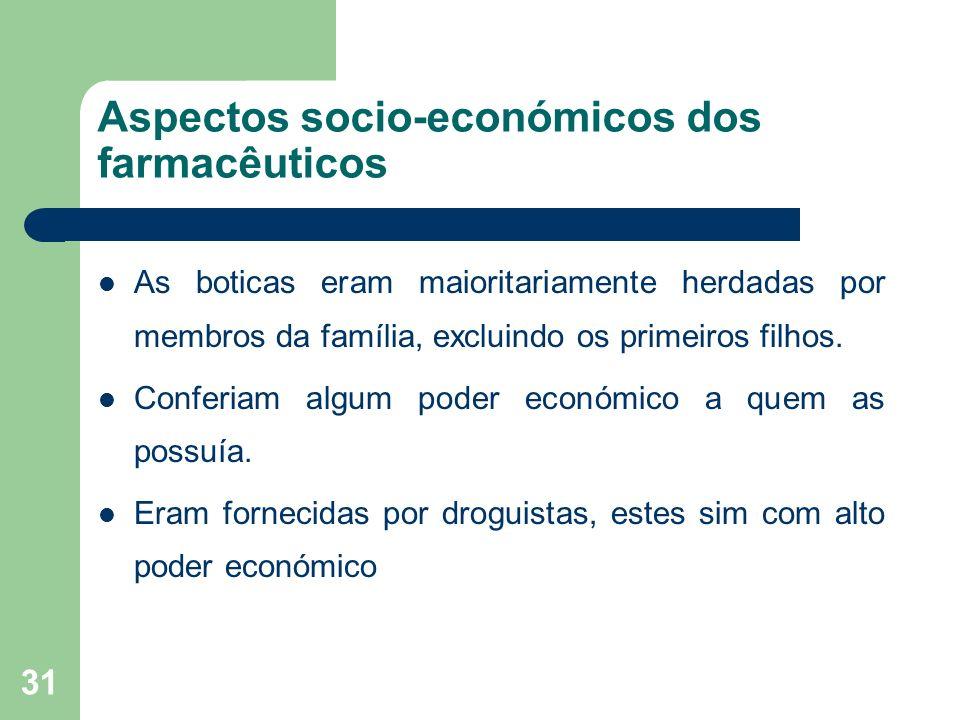 31 Aspectos socio-económicos dos farmacêuticos As boticas eram maioritariamente herdadas por membros da família, excluindo os primeiros filhos. Confer
