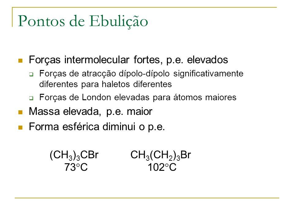 Pontos de Ebulição Forças intermolecular fortes, p.e. elevados Forças de atracção dípolo-dípolo significativamente diferentes para haletos diferentes