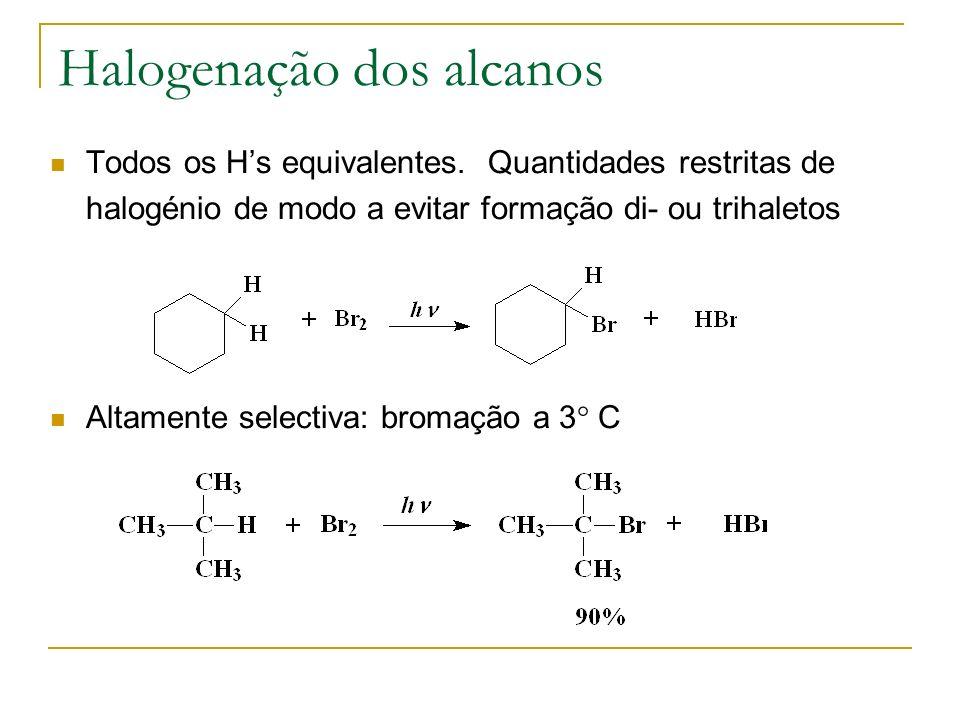Halogenação dos alcanos Todos os Hs equivalentes. Quantidades restritas de halogénio de modo a evitar formação di- ou trihaletos Altamente selectiva: