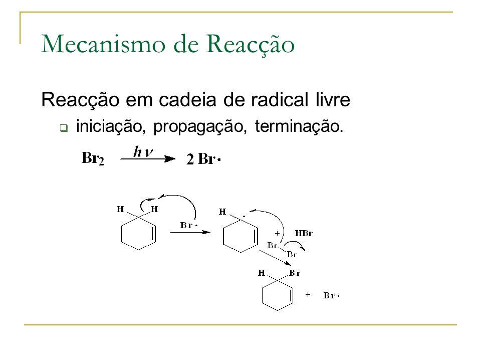 Mecanismo de Reacção Reacção em cadeia de radical livre iniciação, propagação, terminação.