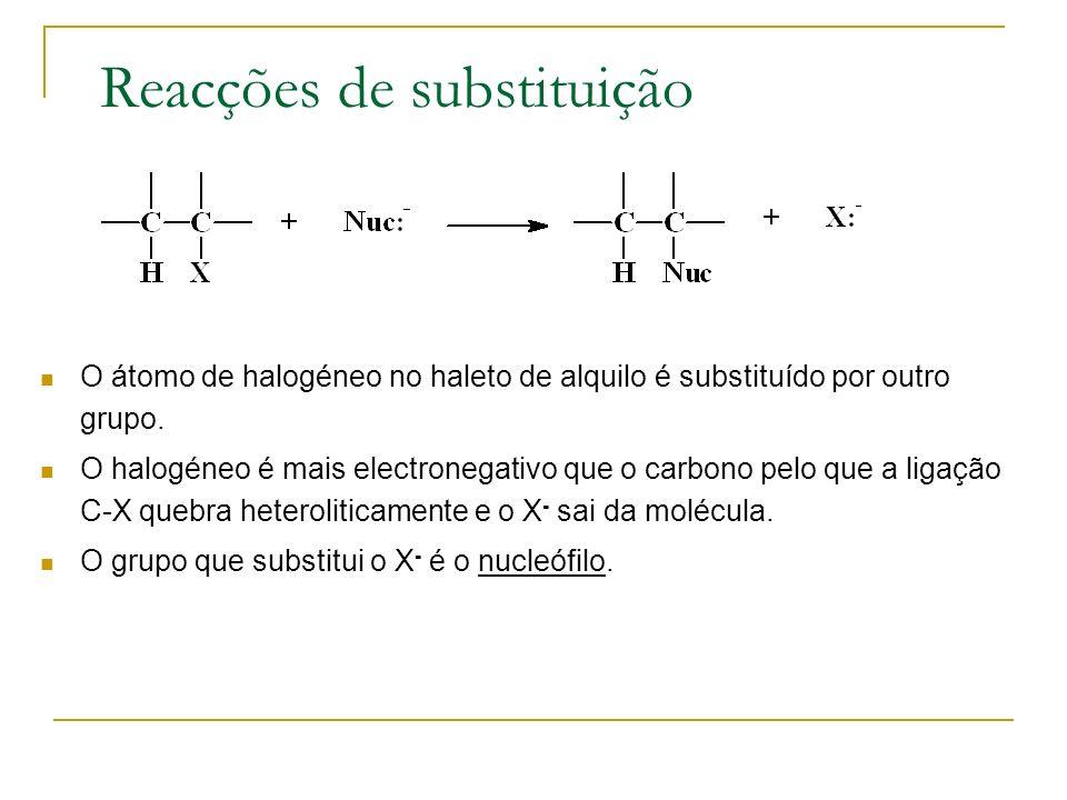 Reacções de substituição O átomo de halogéneo no haleto de alquilo é substituído por outro grupo. O halogéneo é mais electronegativo que o carbono pel