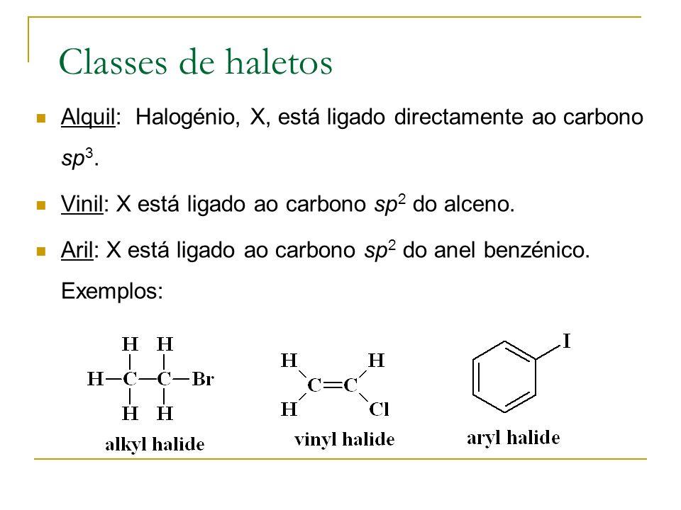 Classes de haletos Alquil: Halogénio, X, está ligado directamente ao carbono sp 3. Vinil: X está ligado ao carbono sp 2 do alceno. Aril: X está ligado