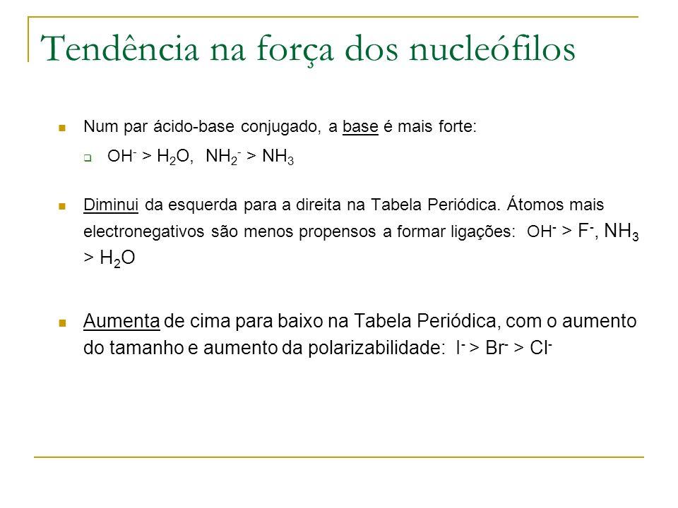 Tendência na força dos nucleófilos Num par ácido-base conjugado, a base é mais forte: OH - > H 2 O, NH 2 - > NH 3 Diminui da esquerda para a direita n