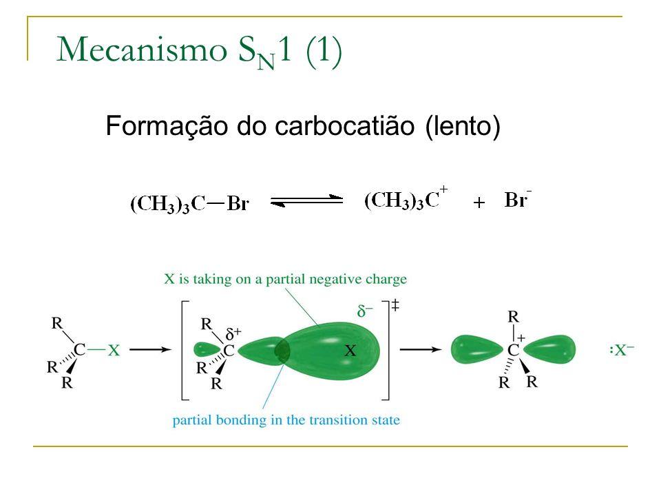 Mecanismo S N 1 (1) Formação do carbocatião (lento)
