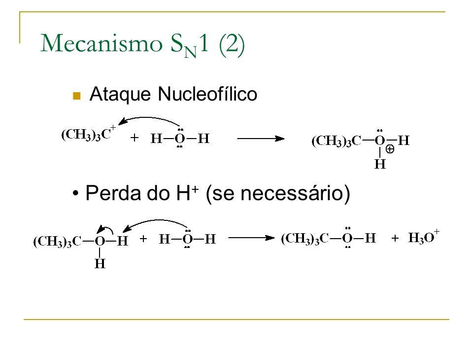 Mecanismo S N 1 (2) Ataque Nucleofílico Perda do H + (se necessário)