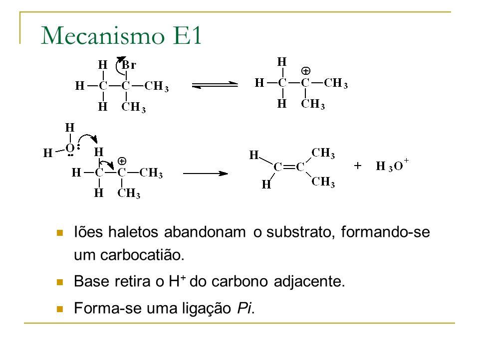 Mecanismo E1 Iões haletos abandonam o substrato, formando-se um carbocatião. Base retira o H + do carbono adjacente. Forma-se uma ligação Pi.