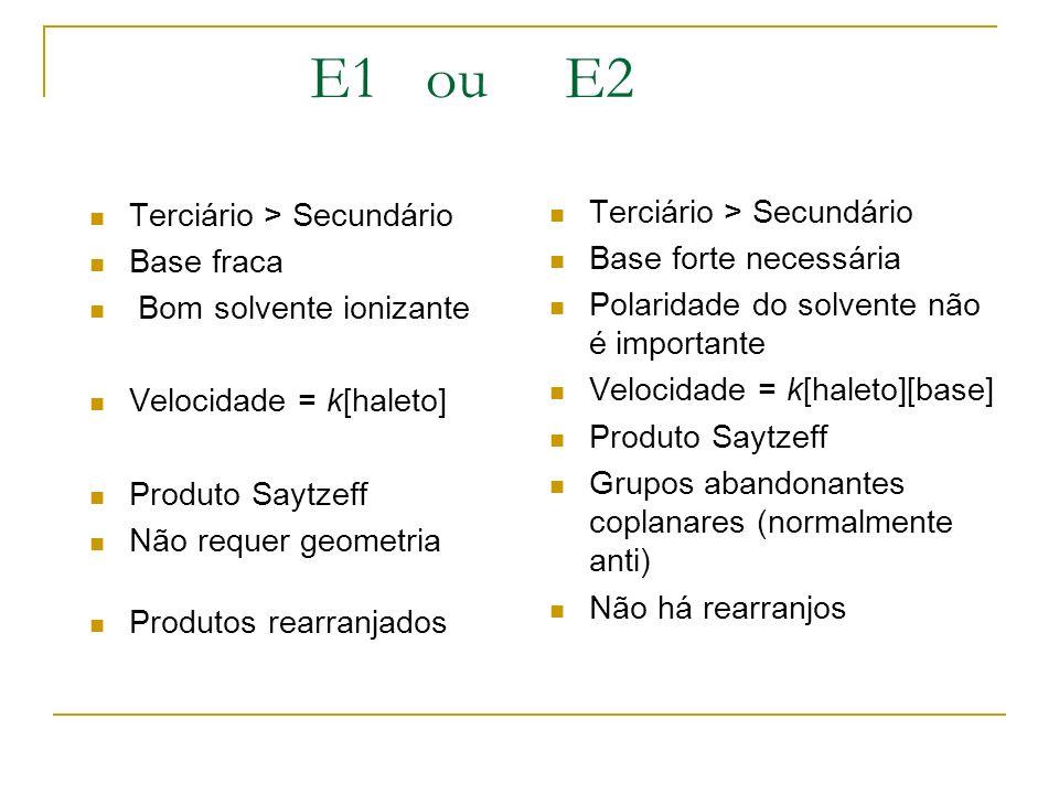 E1 ou E2 Terciário > Secundário Base fraca Bom solvente ionizante Velocidade = k[haleto] Produto Saytzeff Não requer geometria Produtos rearranjados T