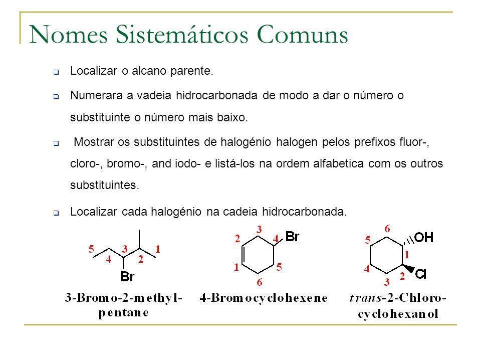 Nomes Sistemáticos Comuns Localizar o alcano parente. Numerara a vadeia hidrocarbonada de modo a dar o número o substituinte o número mais baixo. Most