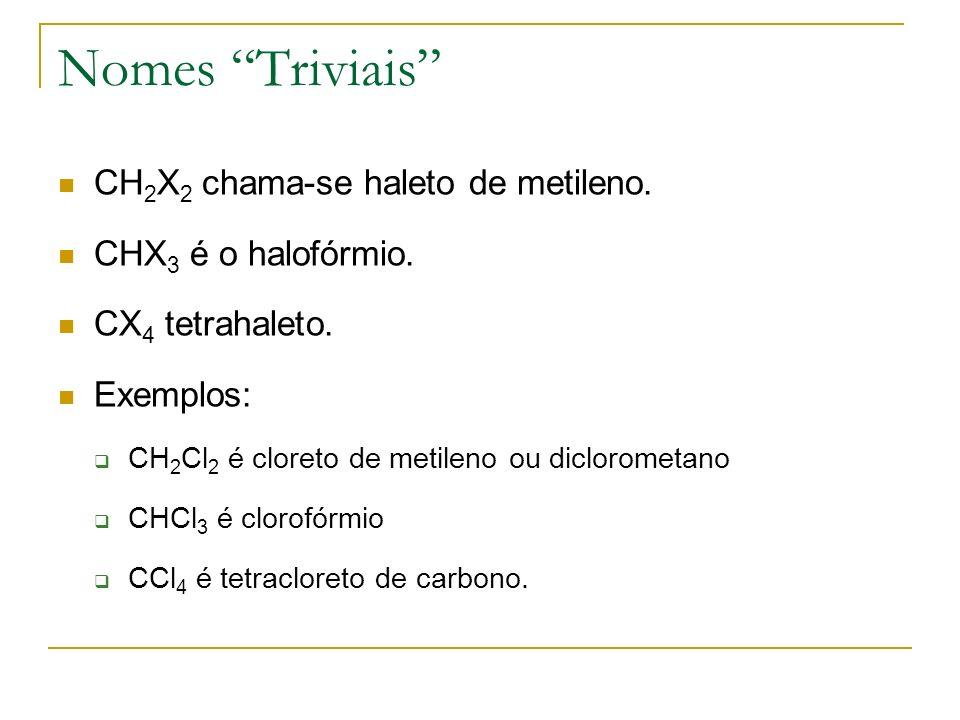 Nomes Triviais CH 2 X 2 chama-se haleto de metileno. CHX 3 é o halofórmio. CX 4 tetrahaleto. Exemplos: CH 2 Cl 2 é cloreto de metileno ou diclorometan