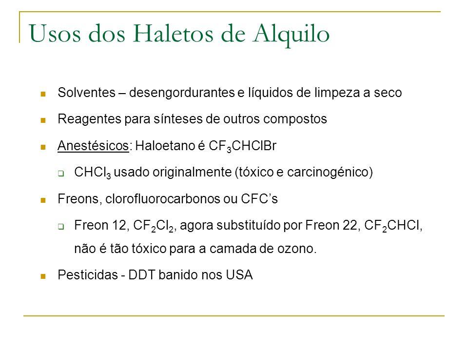 Usos dos Haletos de Alquilo Solventes – desengordurantes e líquidos de limpeza a seco Reagentes para sínteses de outros compostos Anestésicos: Haloeta