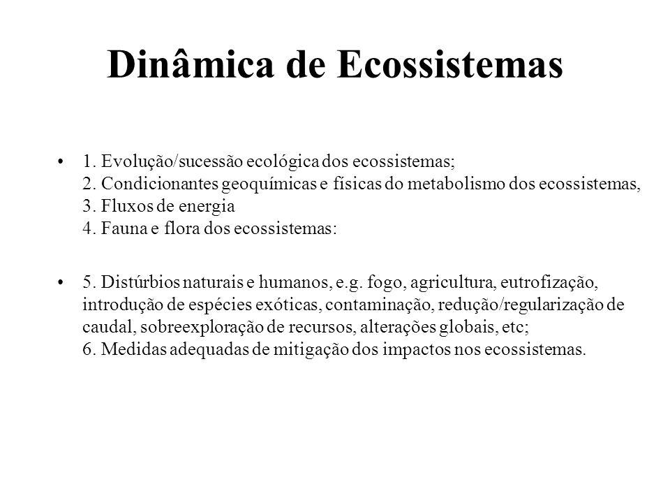 Dinâmica de Ecossistemas 1. Evolução/sucessão ecológica dos ecossistemas; 2. Condicionantes geoquímicas e físicas do metabolismo dos ecossistemas, 3.