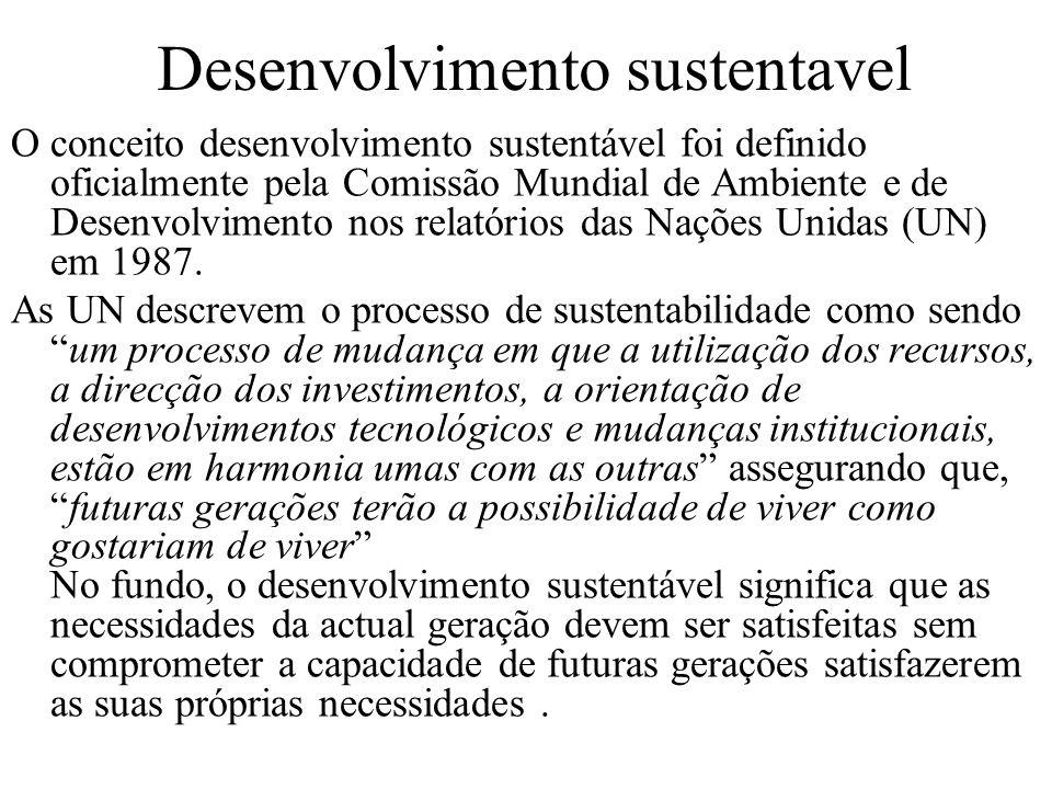 Desenvolvimento sustentavel O conceito desenvolvimento sustentável foi definido oficialmente pela Comissão Mundial de Ambiente e de Desenvolvimento nos relatórios das Nações Unidas (UN) em 1987.