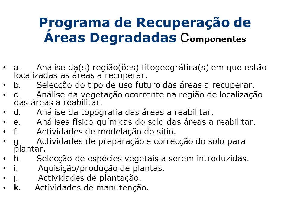 Programa de Recuperação de Áreas Degradadas C omponentes a. Análise da(s) região(ões) fitogeográfica(s) em que estão localizadas as áreas a recuperar.