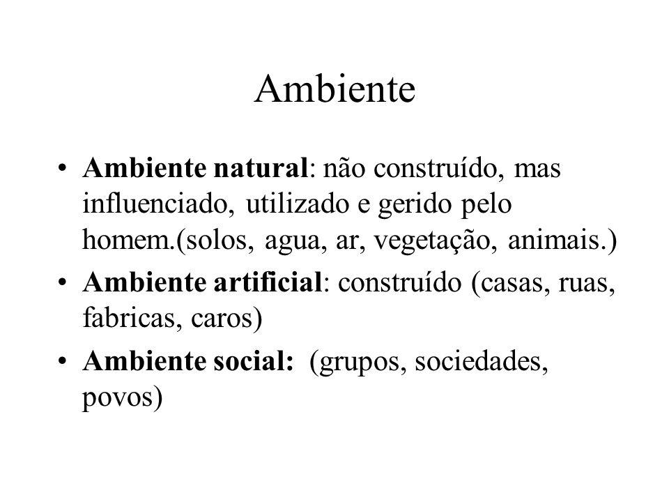 Ambiente Ambiente natural: não construído, mas influenciado, utilizado e gerido pelo homem.(solos, agua, ar, vegetação, animais.) Ambiente artificial: