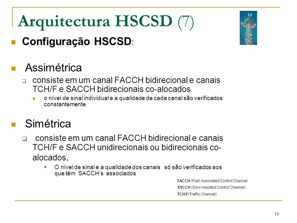 16 Arquitectura HSCSD (7) Configuração HSCSD : Assimétrica consiste em um canal FACCH bidirecional e canais TCH/F e SACCH bidirecionais co-alocados o