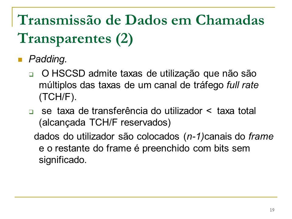 19 Transmissão de Dados em Chamadas Transparentes (2) Padding. O HSCSD admite taxas de utilização que não são múltiplos das taxas de um canal de tráfe