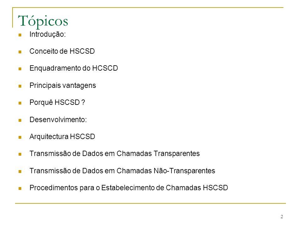 2 Tópicos Introdução: Conceito de HSCSD Enquadramento do HCSCD Principais vantagens Porquê HSCSD ? Desenvolvimento: Arquitectura HSCSD Transmissão de