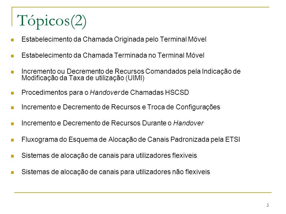 24 Estabelecimento da Chamada Terminada no Terminal Móvel A rede envia ao terminal móvel os seguintes parâmetros: Parâmetros desejados de configuração do modem (OMT); Taxas de Codificação do canal aceitáveis (ACC); Número máximo de canais de tráfego (Max TCH/F); Indicação de modificação da taxa do utilizador (UIMI); Taxa de transmissão desejada pelo utilizador na Interface Aérea (AIUR).