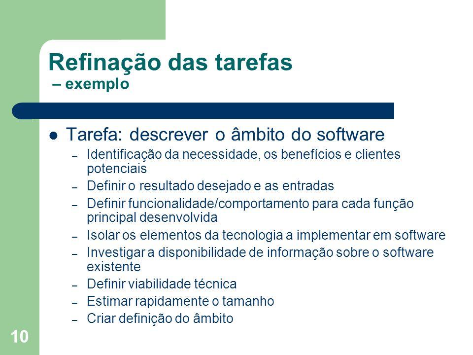 10 Refinação das tarefas – exemplo Tarefa: descrever o âmbito do software – Identificação da necessidade, os benefícios e clientes potenciais – Defini