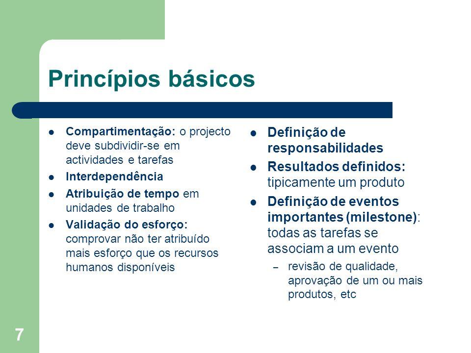 7 Princípios básicos Compartimentação: o projecto deve subdividir-se em actividades e tarefas Interdependência Atribuição de tempo em unidades de trab