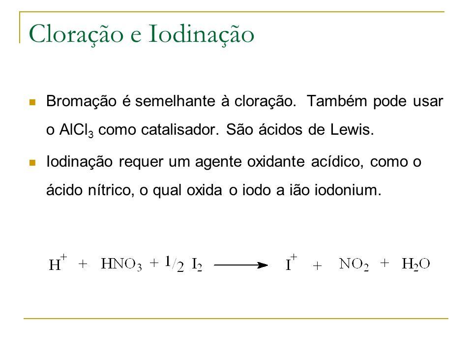 Cloração e Iodinação Bromação é semelhante à cloração. Também pode usar o AlCl 3 como catalisador. São ácidos de Lewis. Iodinação requer um agente oxi