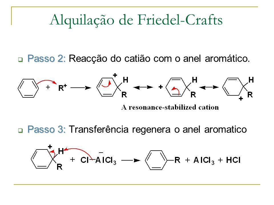 Passo 2: Passo 2: Reacção do catião com o anel aromático. Passo 3: Passo 3: Transferência regenera o anel aromatico Alquilação de Friedel-Crafts