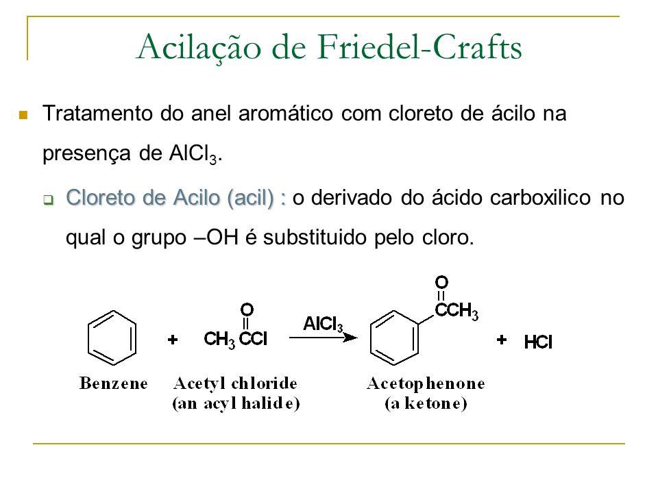 Acilação de Friedel-Crafts Tratamento do anel aromático com cloreto de ácilo na presença de AlCl 3. Cloreto de Acilo (acil) : Cloreto de Acilo (acil)