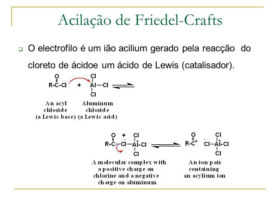 O electrofilo é um ião acilium gerado pela reacção do cloreto de ácidoe um ácido de Lewis (catalisador). Acilação de Friedel-Crafts