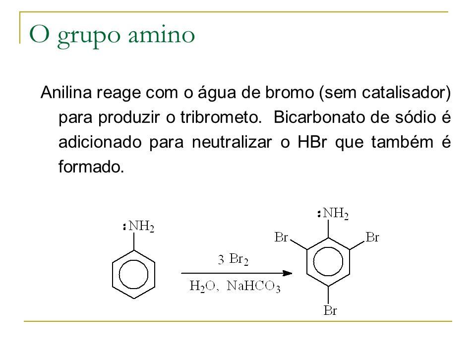 O grupo amino Anilina reage com o água de bromo (sem catalisador) para produzir o tribrometo. Bicarbonato de sódio é adicionado para neutralizar o HBr