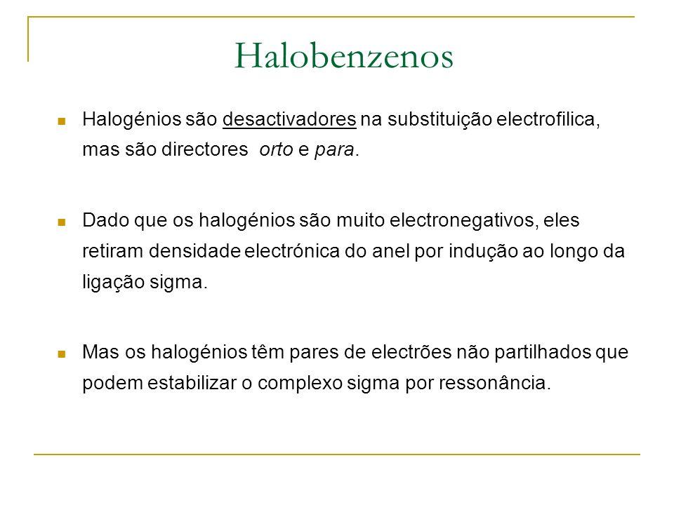 Halobenzenos Halogénios são desactivadores na substituição electrofilica, mas são directores orto e para. Dado que os halogénios são muito electronega