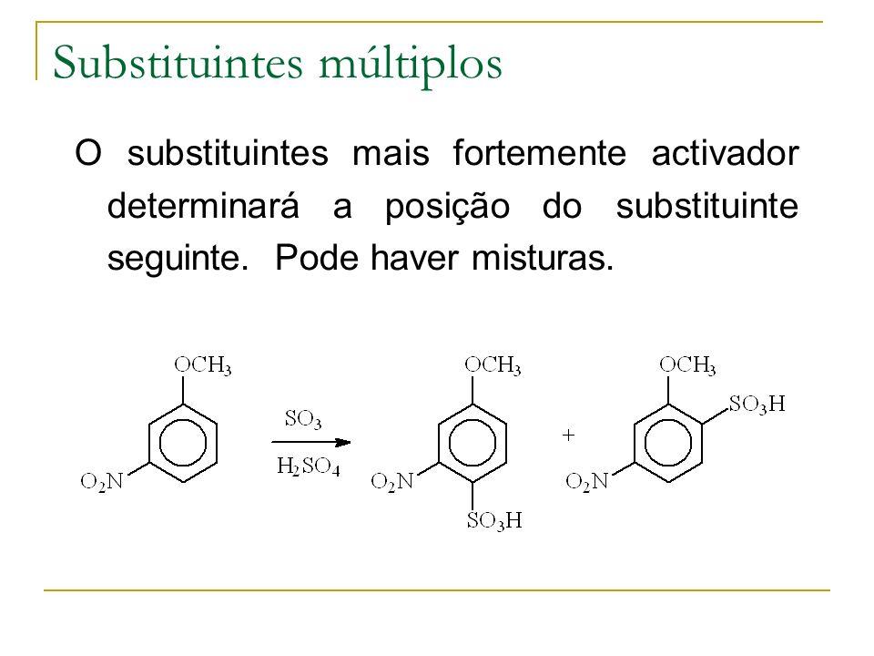 Substituintes múltiplos O substituintes mais fortemente activador determinará a posição do substituinte seguinte. Pode haver misturas.