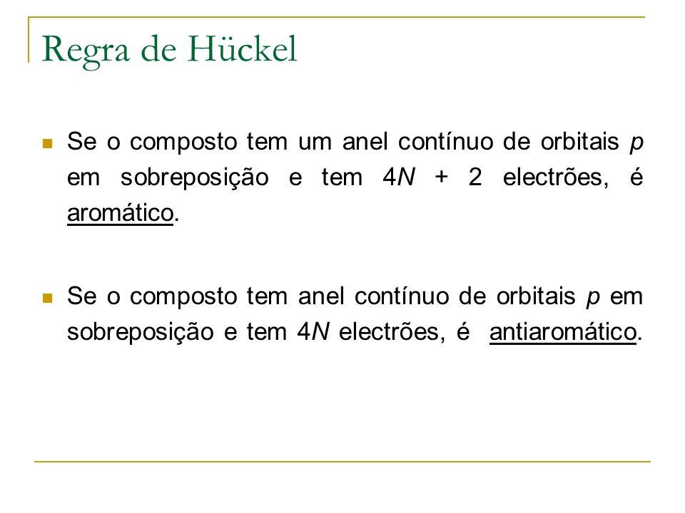 Regra de Hückel Se o composto tem um anel contínuo de orbitais p em sobreposição e tem 4N + 2 electrões, é aromático. Se o composto tem anel contínuo