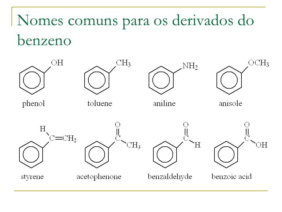 Nomes comuns para os derivados do benzeno