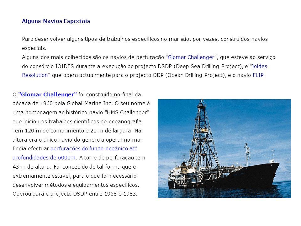 Alguns Navios Especiais Para desenvolver alguns tipos de trabalhos específicos no mar são, por vezes, construidos navios especiais. Alguns dos mais co