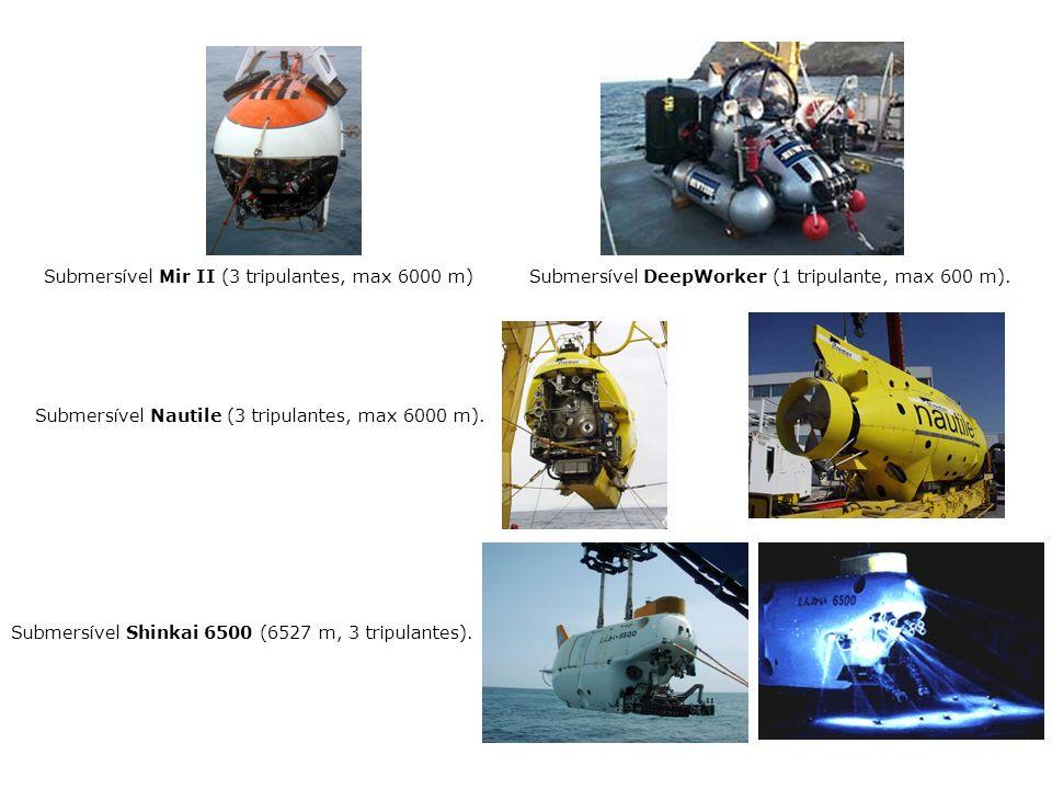 Submersível Mir II (3 tripulantes, max 6000 m) Submersível DeepWorker (1 tripulante, max 600 m). Submers í vel Nautile (3 tripulantes, max 6000 m). Su