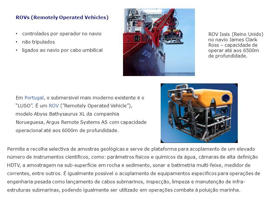 ROVs (Remotely Operated Vehicles) controlados por operador no navio não tripulados ligados ao navio por cabo umbilical ROV Issis (Reino Unido) no navi