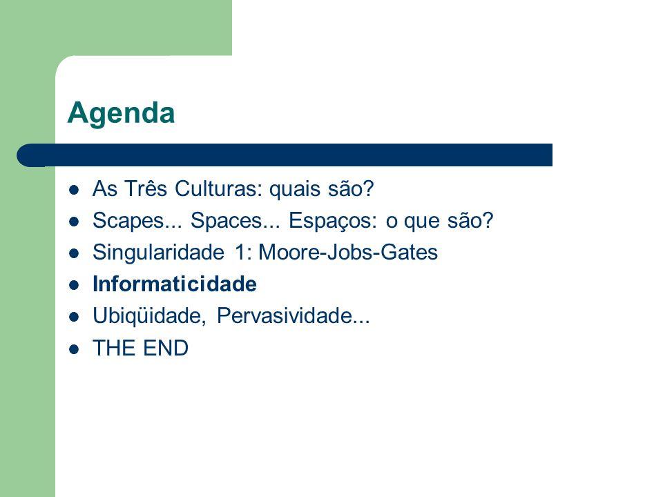 Agenda As Três Culturas: quais são? Scapes... Spaces... Espaços: o que são? Singularidade 1: Moore-Jobs-Gates Informaticidade Ubiqüidade, Pervasividad