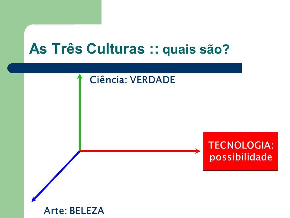 As Três Culturas :: quais são? TECNOLOGIA: possibilidade Arte: BELEZA Ciência: VERDADE
