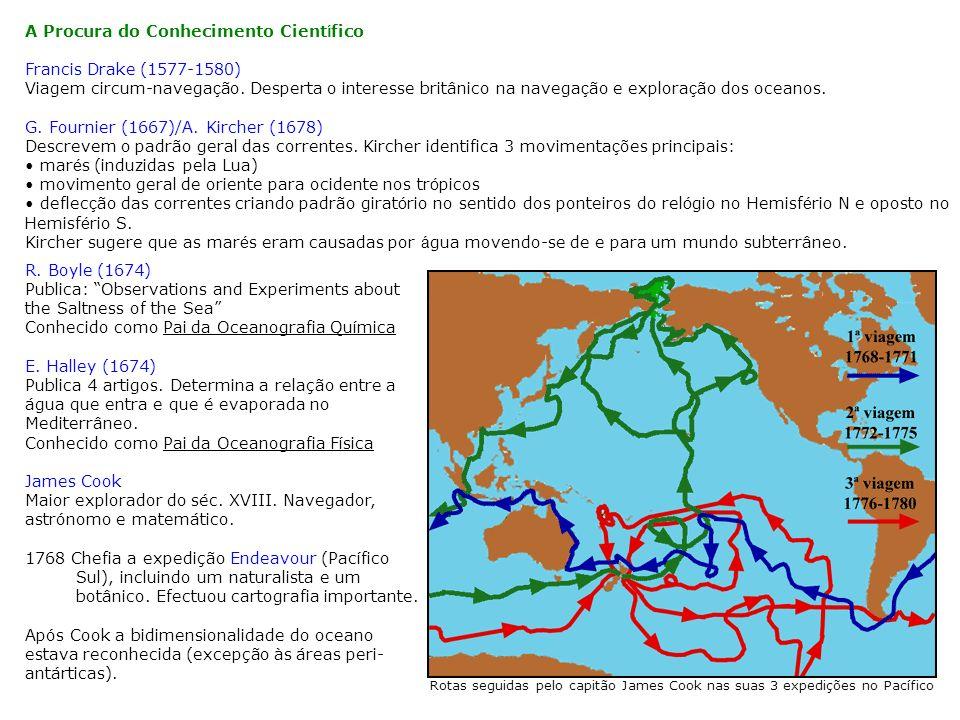 A Procura do Conhecimento Cient í fico Francis Drake (1577-1580) Viagem circum-navega ç ão. Desperta o interesse britânico na navega ç ão e explora ç