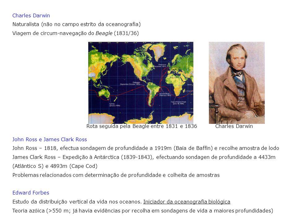 Charles Darwin Naturalista (não no campo estrito da oceanografia) Viagem de circum-navegação do Beagle (1831/36) John Ross e James Clark Ross John Ros