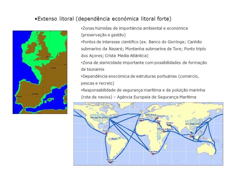 Outras potencialidades: Potencialidade económica do domínio costeiro e marinho em países de expressão portuguesa Perspectiva de expansão da plataforma continental para as 300 milhas Algumas acções recentes para valorização dos oceanos, em Portugal: Ano Internacional dos Oceanos (1998) – Presidido por Mário Soares EXPO 98 – Lisboa, dedicada aos oceanos PDCTM (Programa Dinamizador de Ciências e Tecnologias do Mar) (1999) Comissão Estratégica dos Oceanos (2003) Estrutura de Missão para a Extensão da Plataforma Continental (http://www.emepc.pt/) Estrutura de Missão para os Assuntos do Mar (http://www.emam.com.pt/ – Estratégia Nacional para o Mar 2006) Comissão Interministerial para os Assuntos do Mar (CIAM) - 2007