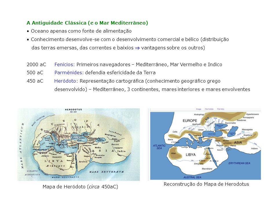 400 aCAristóteles: Menciona os primeiros conhecimentos em Biologia Marinha; Fala da geração de ondas por ventos, de correntes oceânicas e do ciclo hidrológico 325 aCPiteas: Estabeleceu relação entre o estado da maré e as fases da Lua 250 aCEratóstenes: Define o perímetro da Terra.